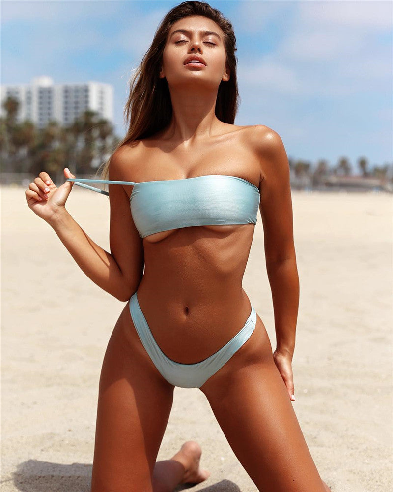 high cut one shoulder bikini