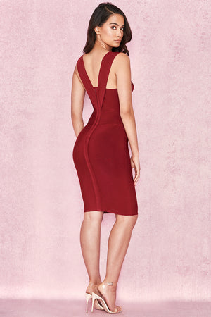 red bandage midi dress