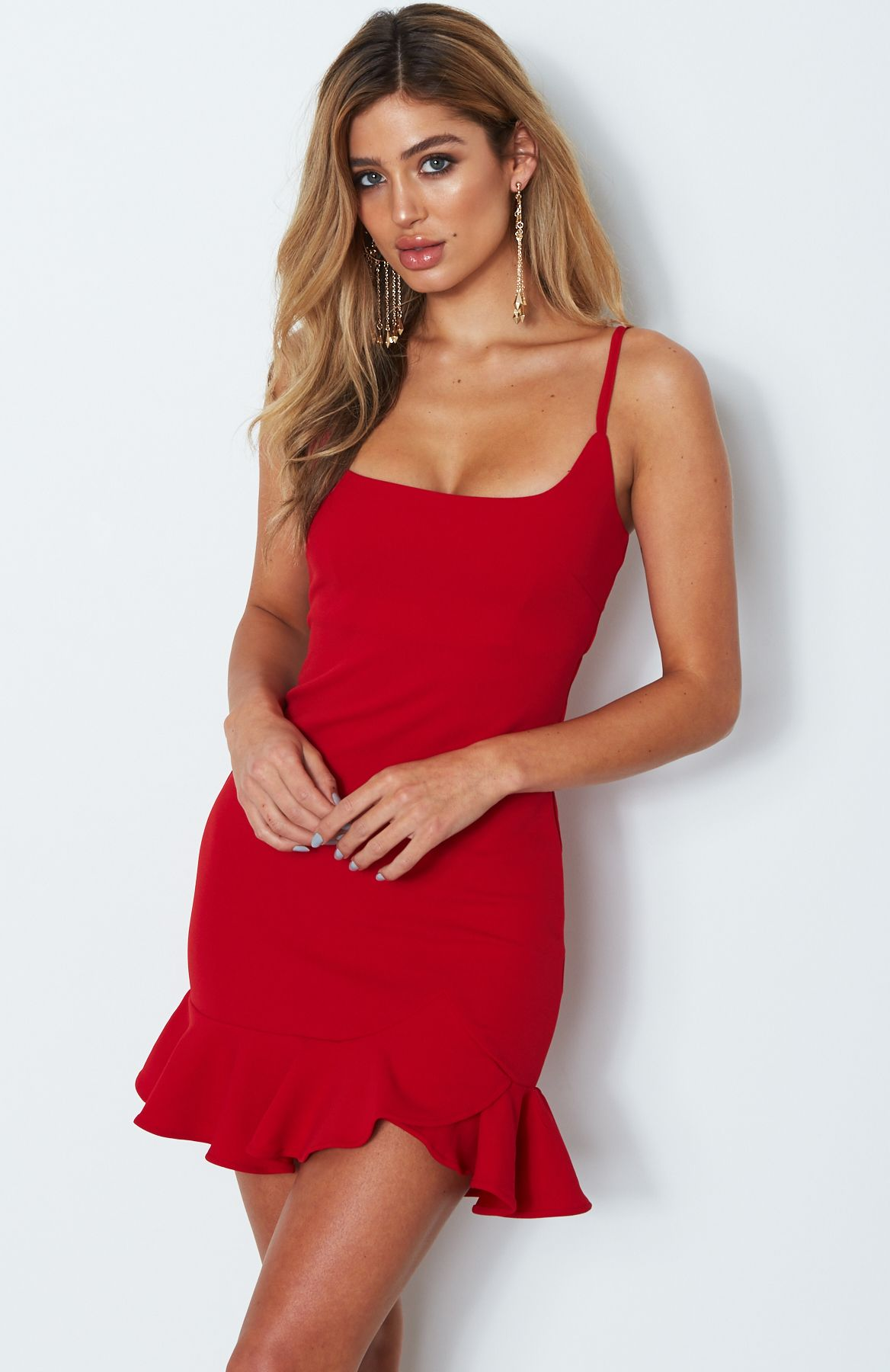 red bodycon ruffle mini dress