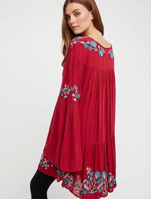 red boho mini dress
