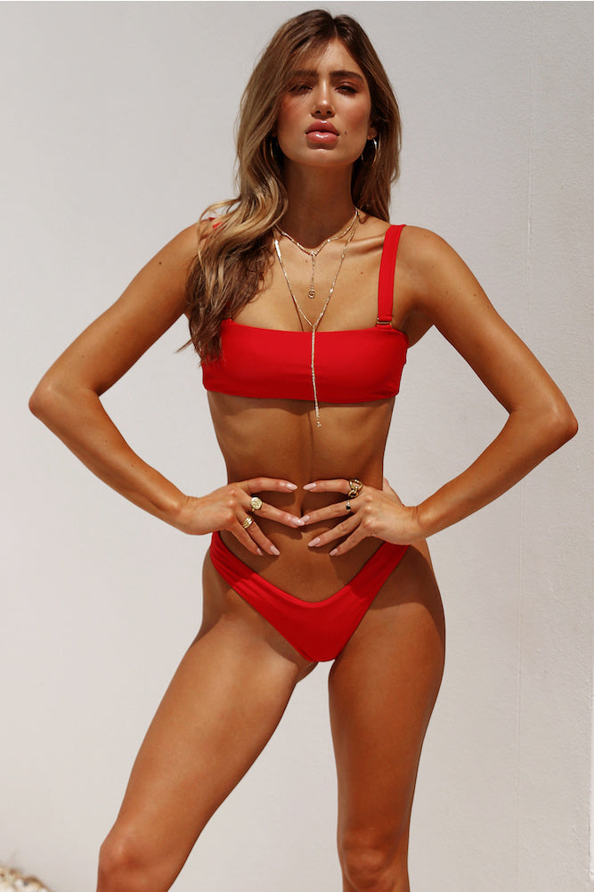 red high cut bikini