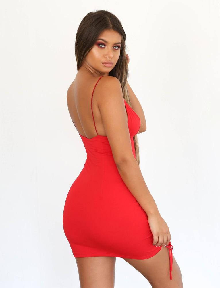 red lace up side bodycon dress