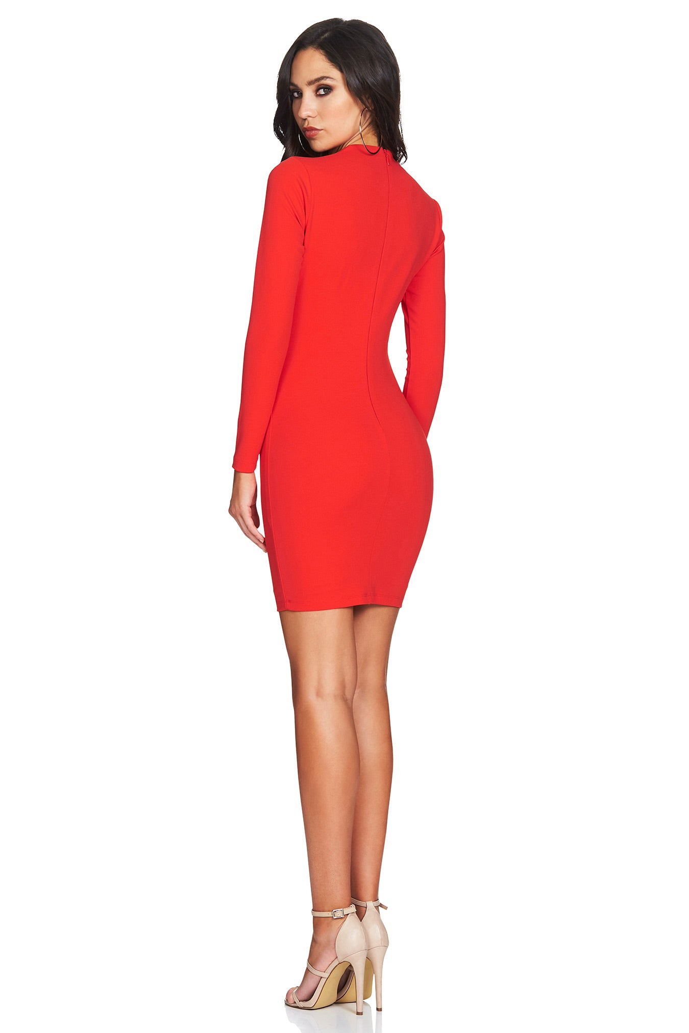 red long sleeve bodycon dress