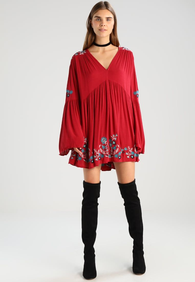 red long sleeve boho dress