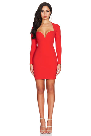 red long sleeve plunge dress