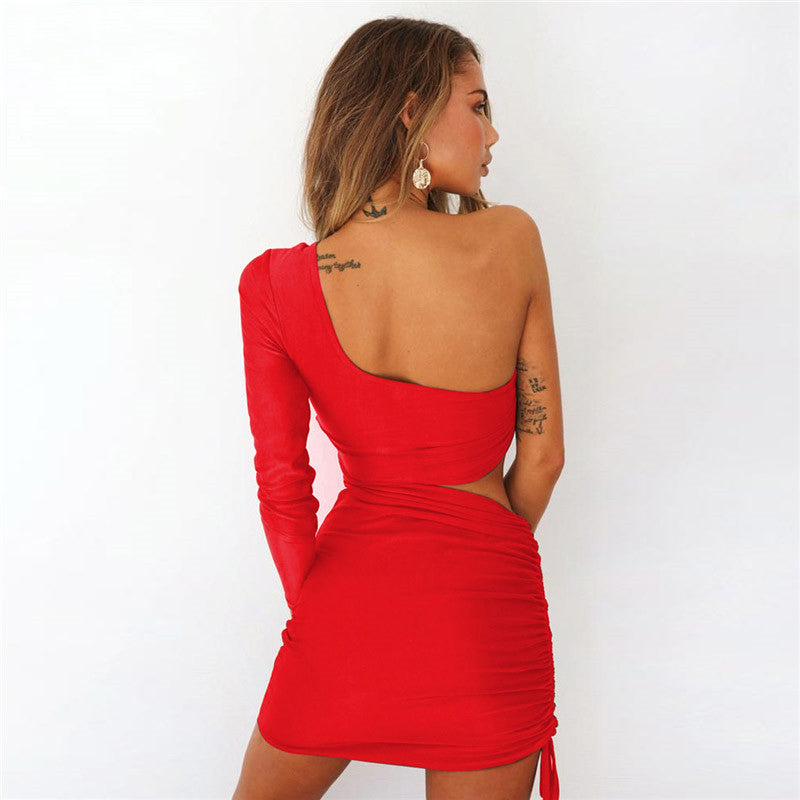red one sleeve dress
