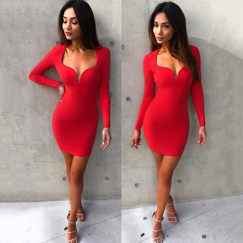 red plunge dress