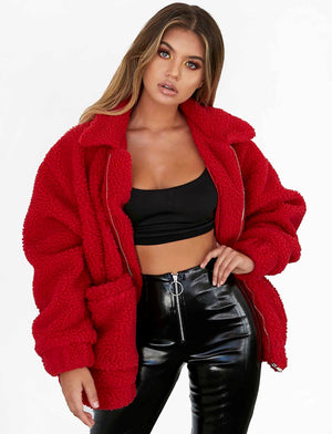 red teddy bear coat