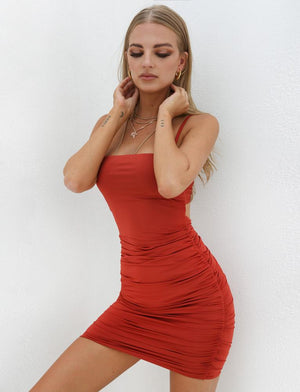 red tie back dress