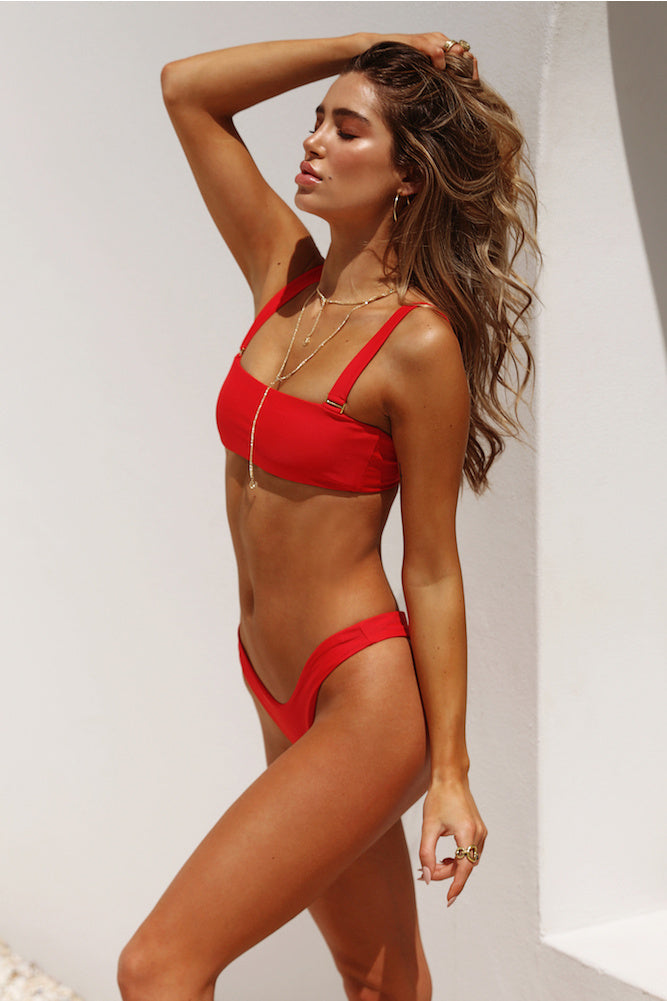 removable strap high cut bikini