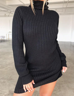 ribbed long sleeve knit dress
