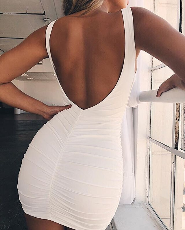 ruched backless dress