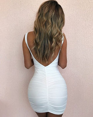 ruched backless mini dress