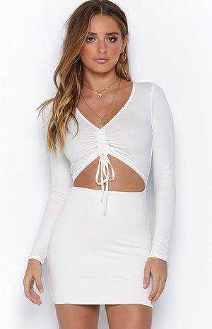 ruched front white long sleeve bodycon mini dress