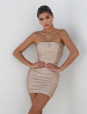 ruched strapless mini dress