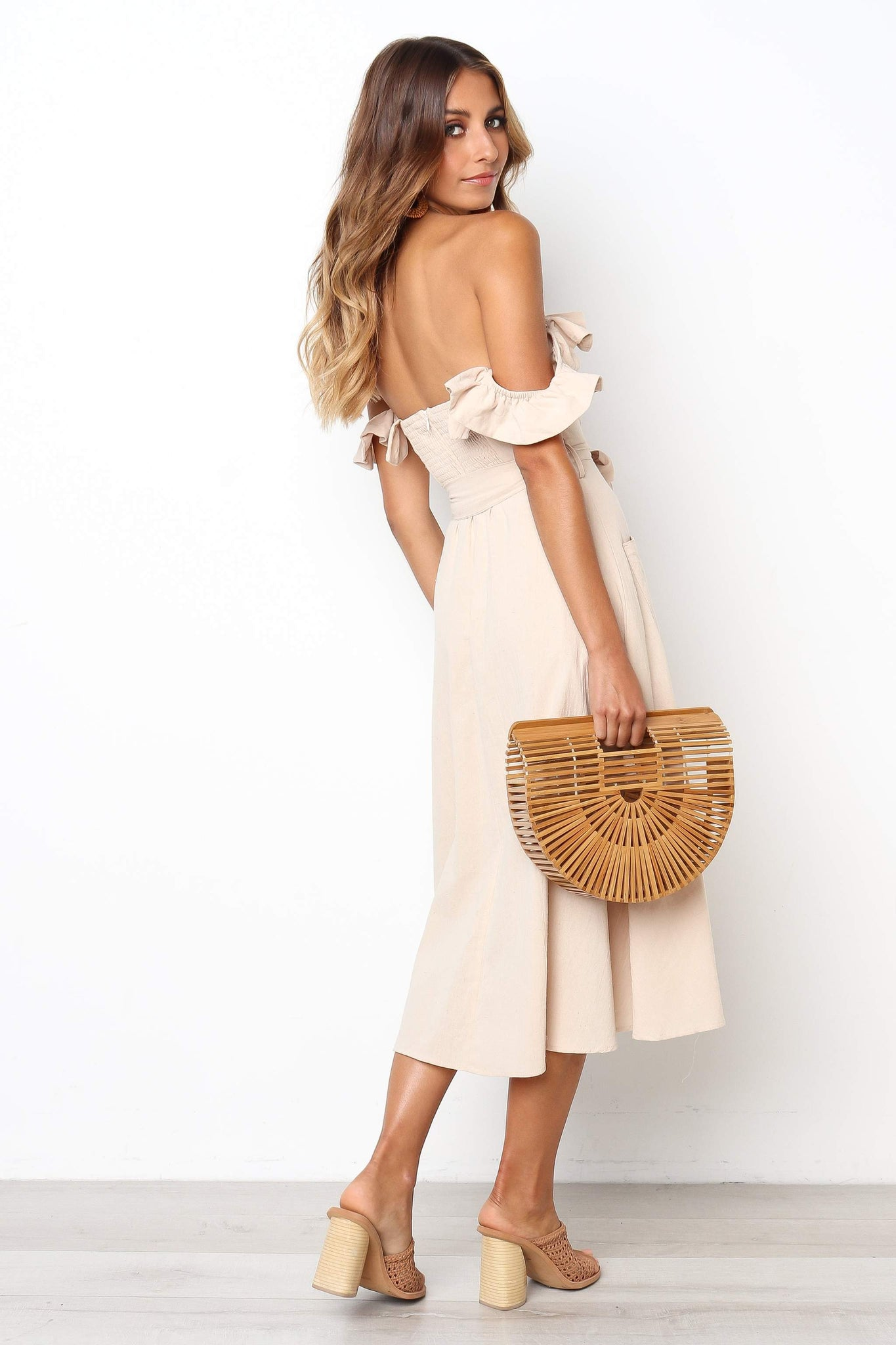 ruffle off shoulder midi dress