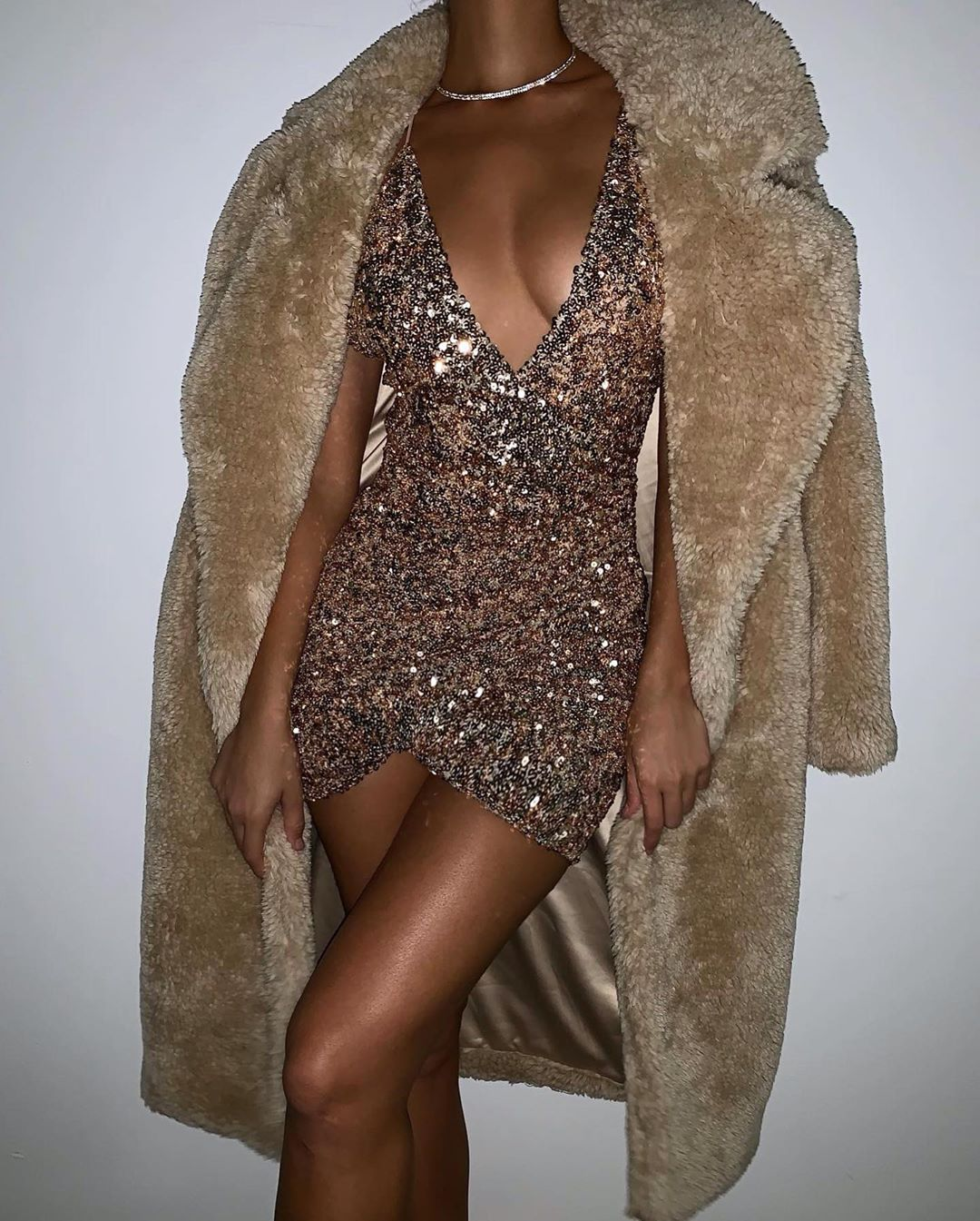 sequin plunge dress