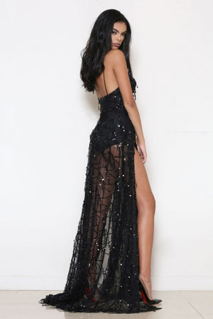 sequin side slit maxi dress