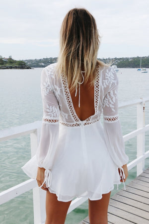 sheer long sleeve lace dress