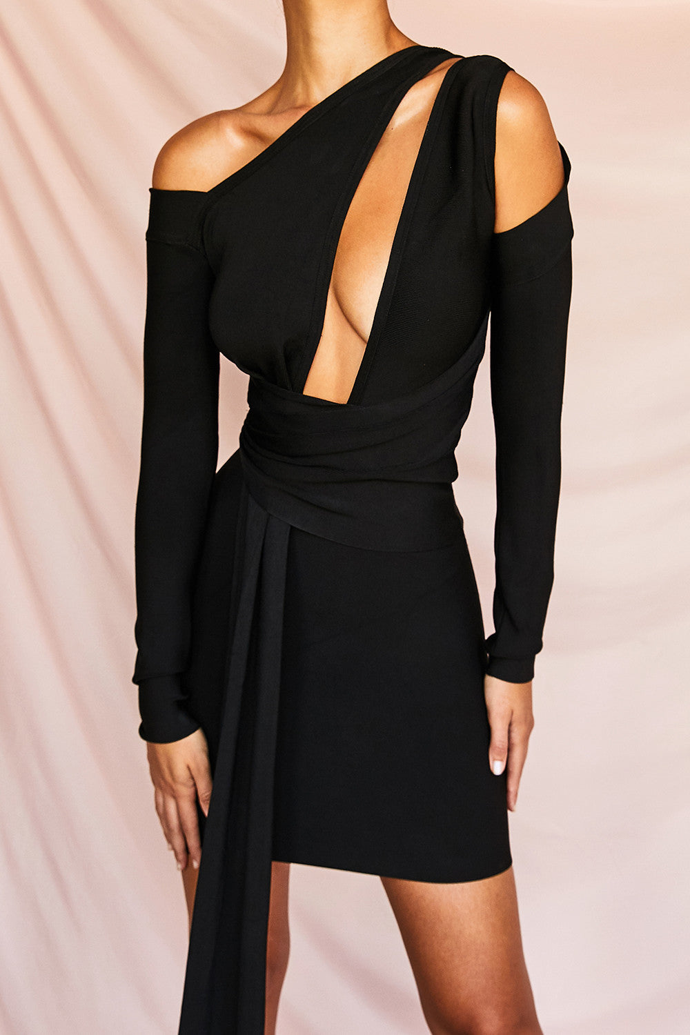 shoulder cut out long sleeve draped asymmetrical dress