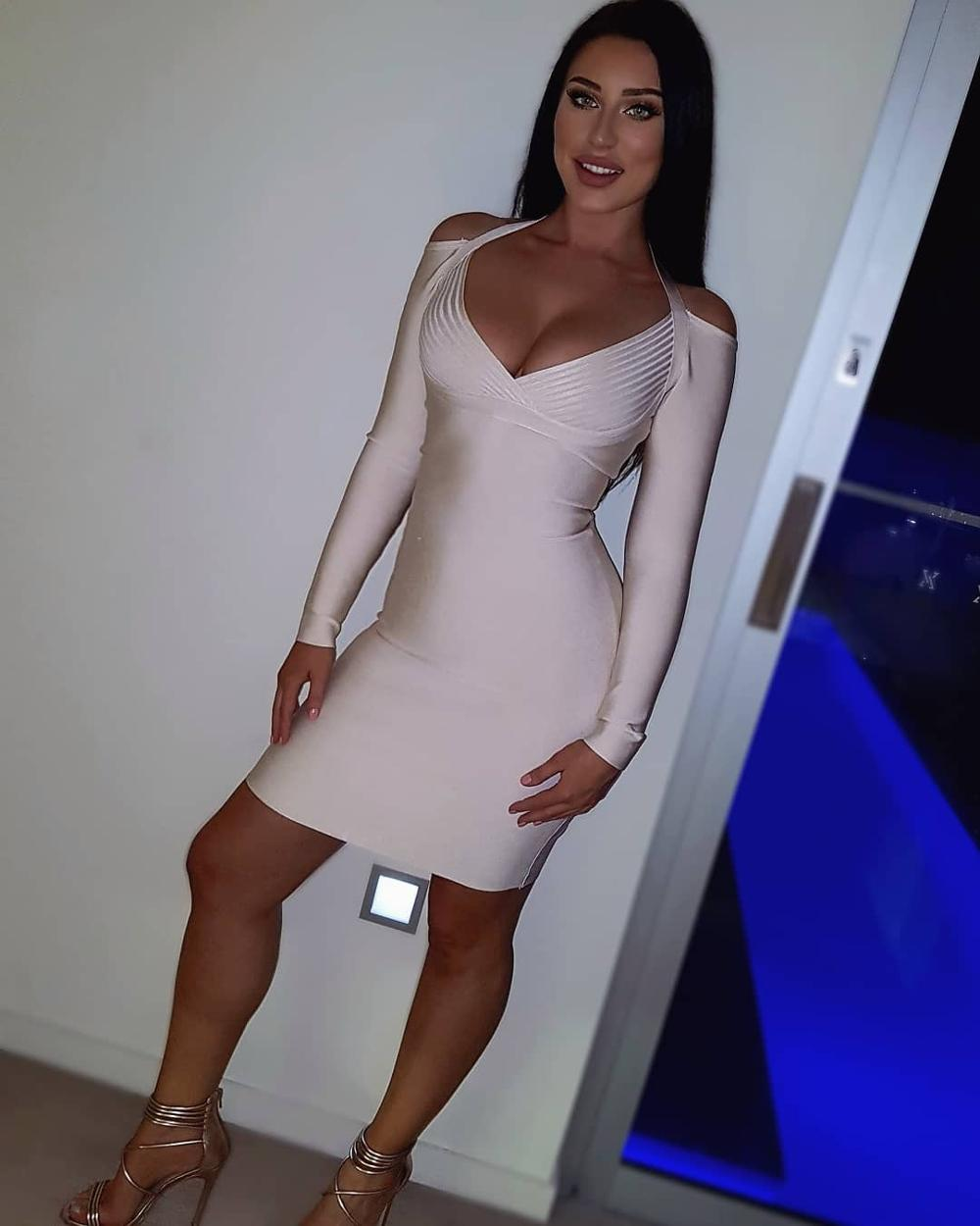 shoulder cut out white bodycon dress