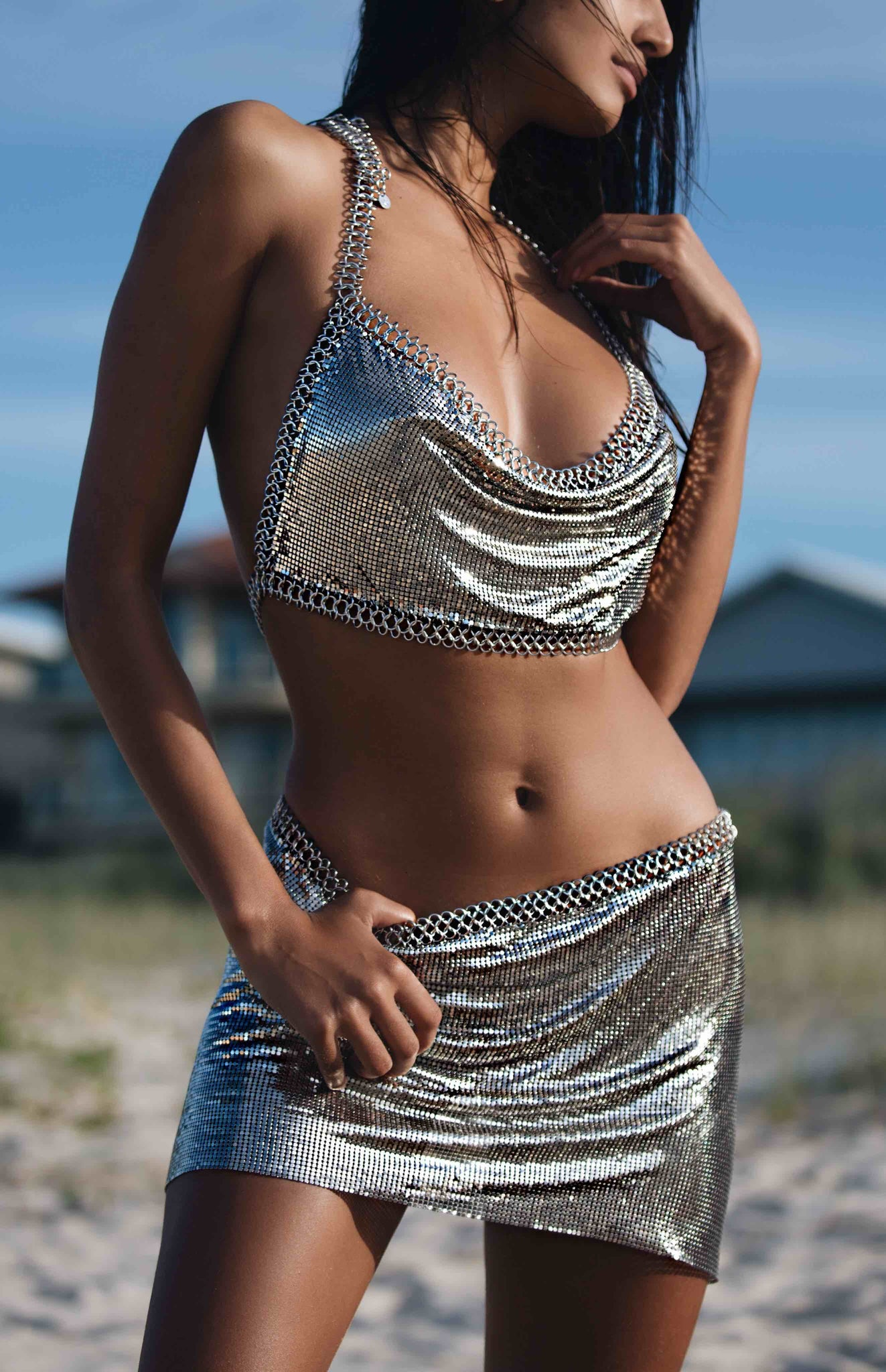 silver chain two piece set