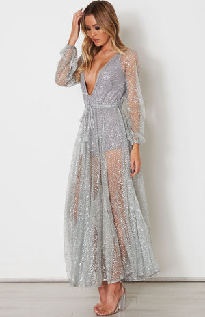 silver chiffon dress