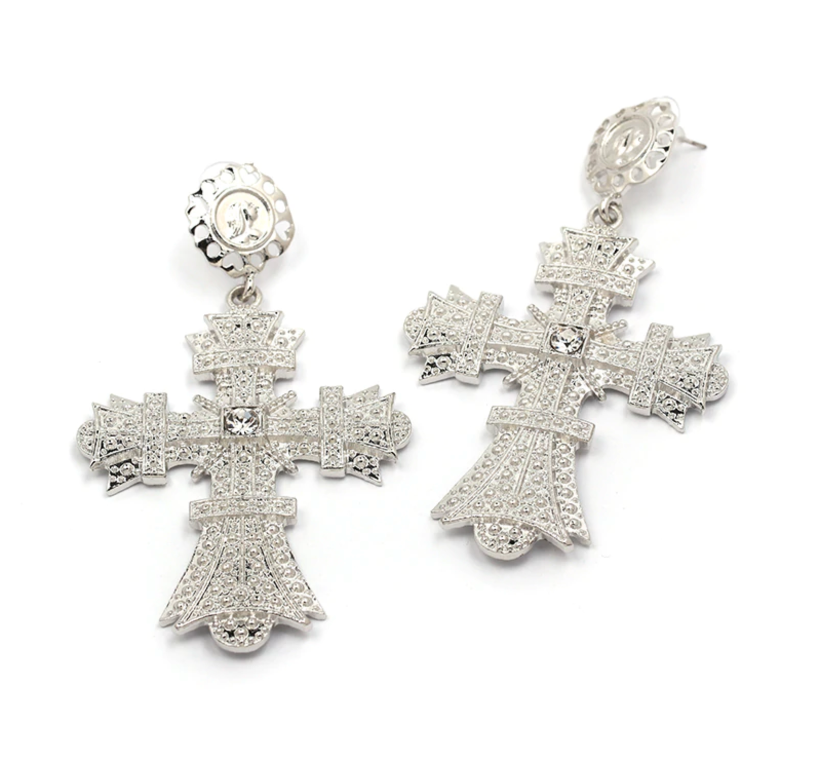 silver dangling cross earrings