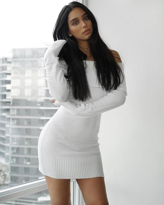 simone white sweater dress