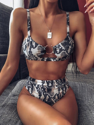 snakeskin print cut out bikini