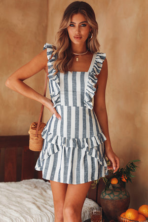 striped shoulder frill dress
