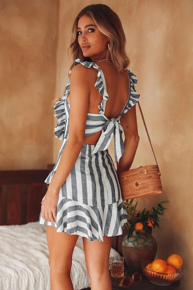 striped tie back dress