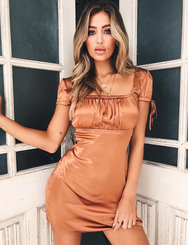 tan faux satin mini dress
