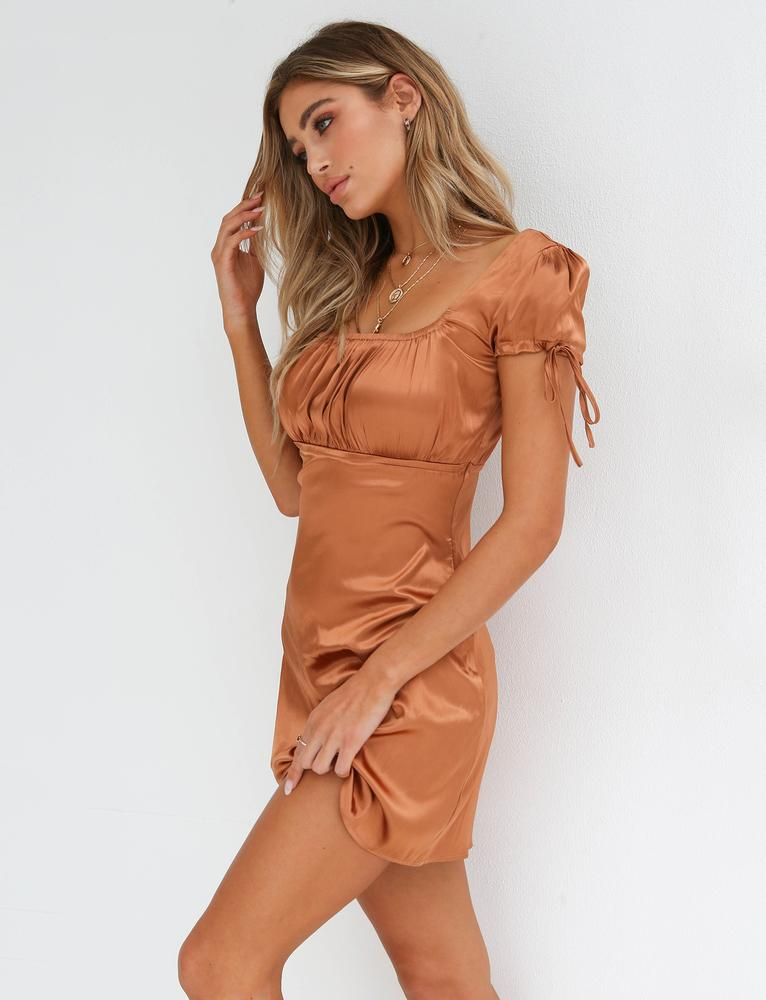 tan faux satin party dress