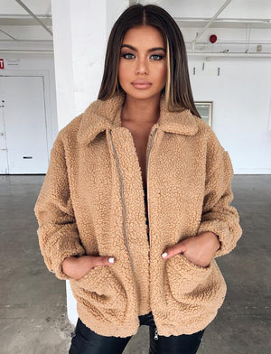 tan fleece teddy coat