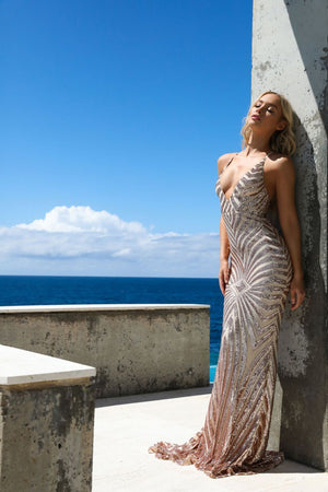 tan mermaid dress