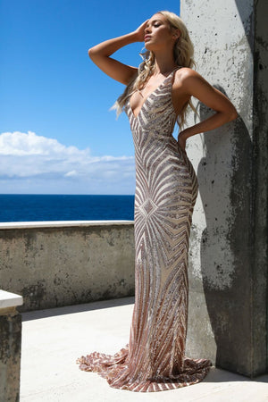 tan mermaid gown
