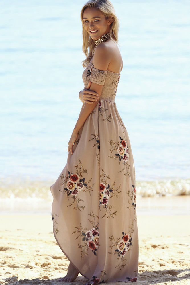 tan off the shoulder maxi dress
