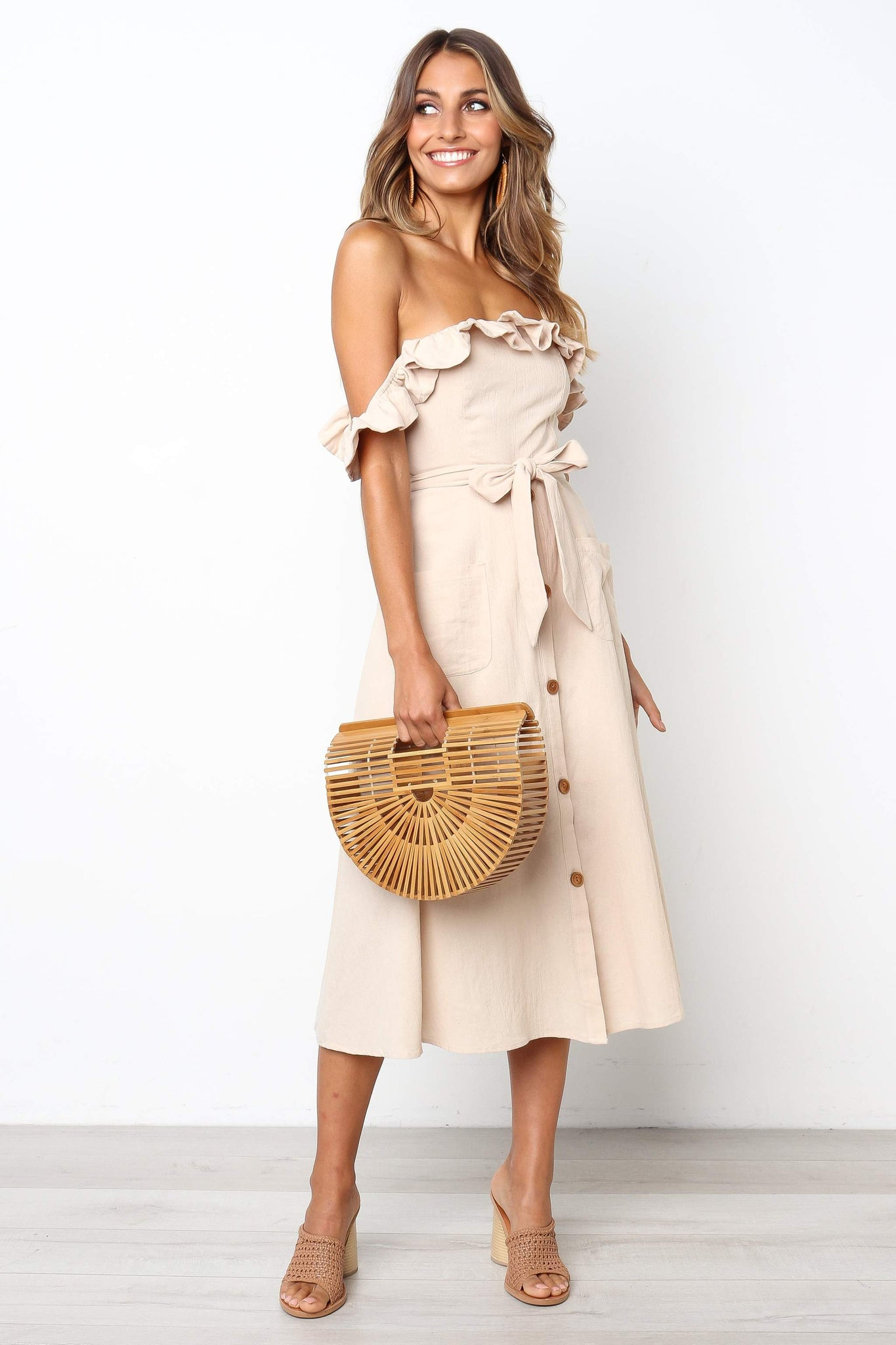 tan off the shoulder midi dress