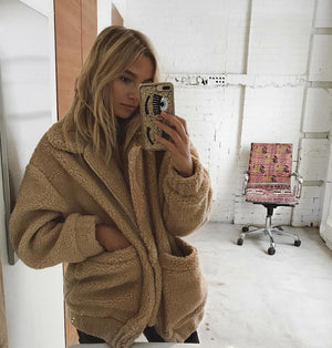 tan oversized teddy bear coat