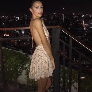 tan party dress