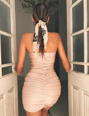 tan strapless mini dress