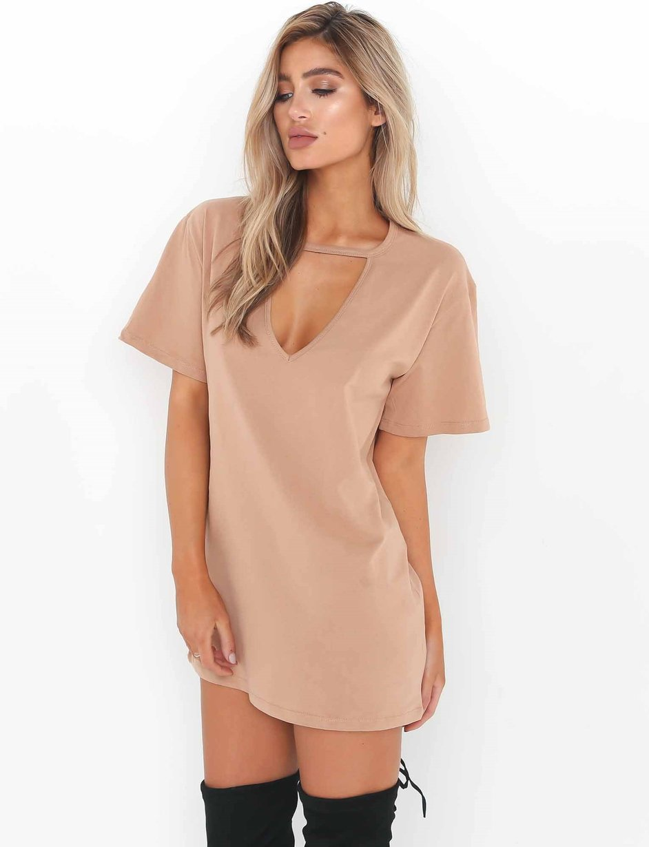 tan t shirt dress