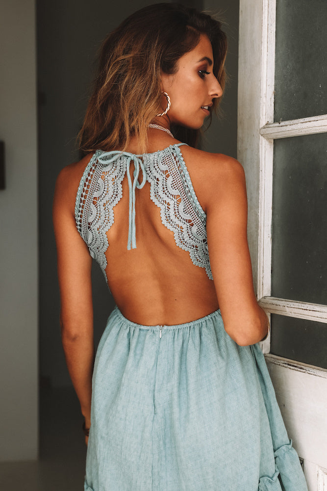teal backless dress