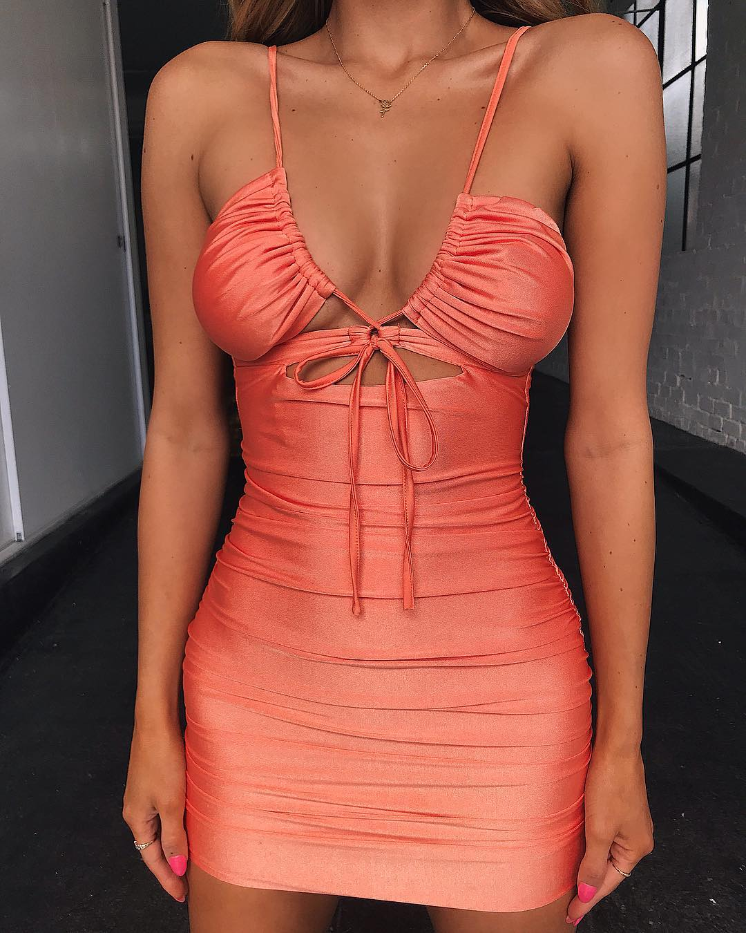 thin strap plunging neckline bodycon mini dress