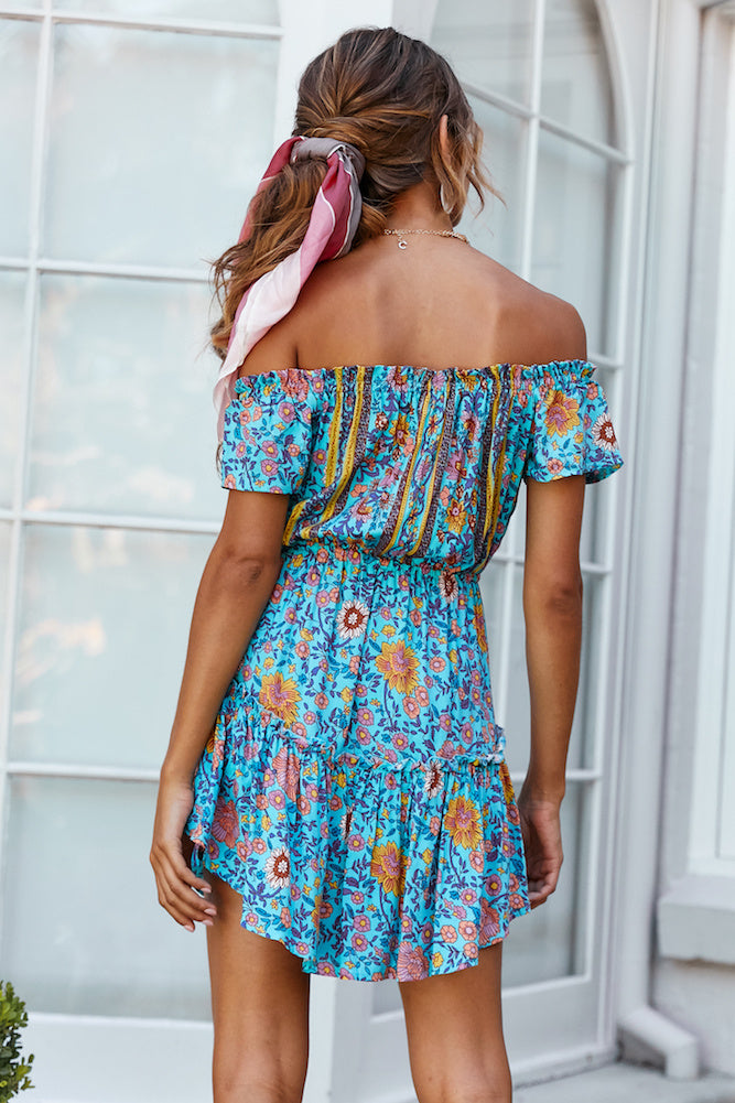 turquoise off shoulder floral mini dress