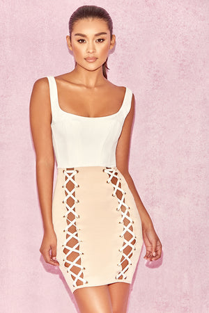white and beige corset dress