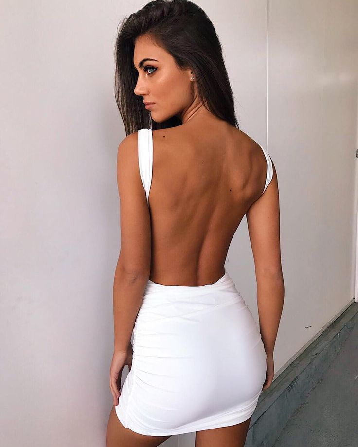 white backless bodycon dress - back