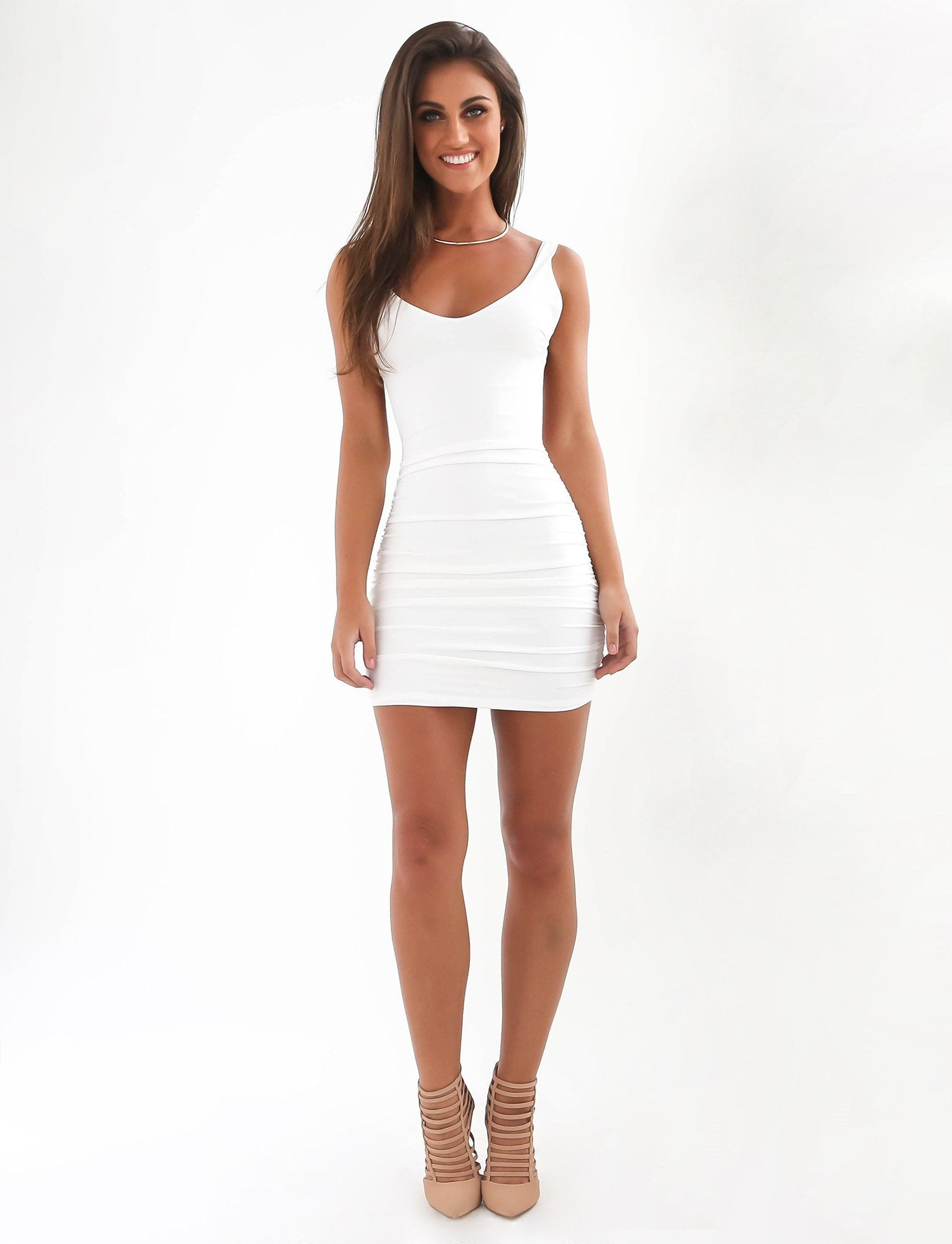 white backless bodycon dress - nairah