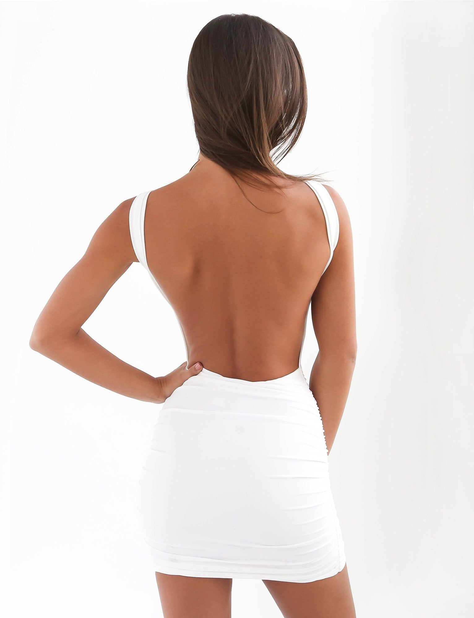 white backless bodycon dress